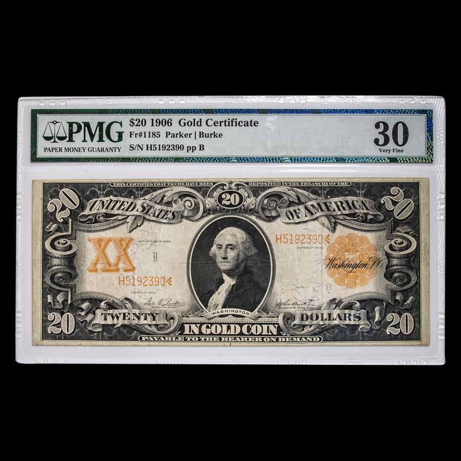 1906 $20 Gold Certificate Washington VF-30 PMG