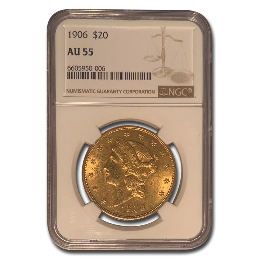 1906 $20 Liberty Gold Double Eagle AU-55 NGC