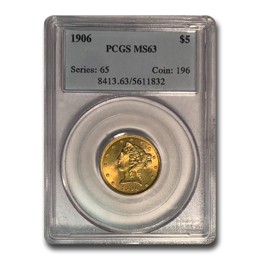 1906 $5 Liberty Gold Half Eagle MS-63 PCGS
