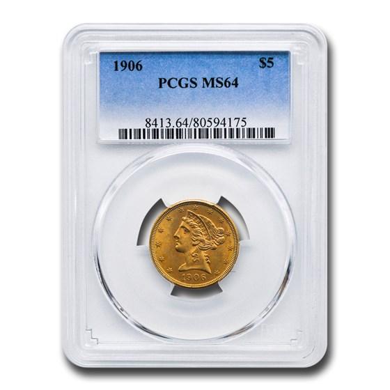1906 $5 Liberty Gold Half Eagle MS-64 PCGS