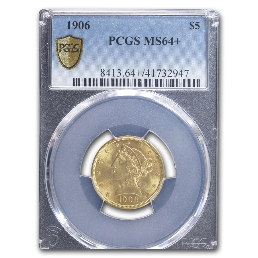 1906 $5 Liberty Gold Half Eagle MS-64+ PCGS