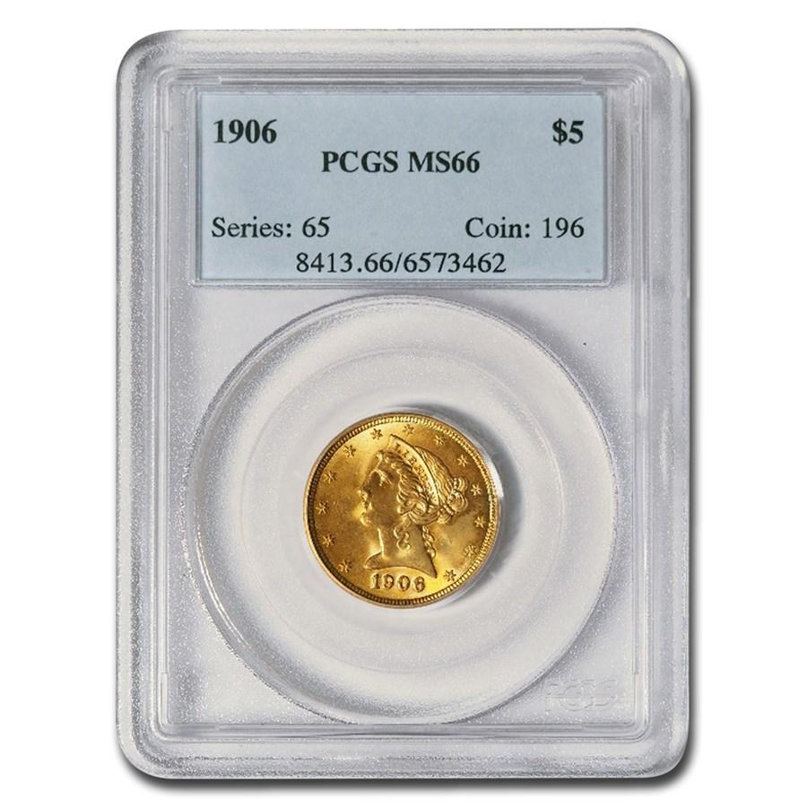 1906 $5 Liberty Gold Half Eagle MS-66 PCGS