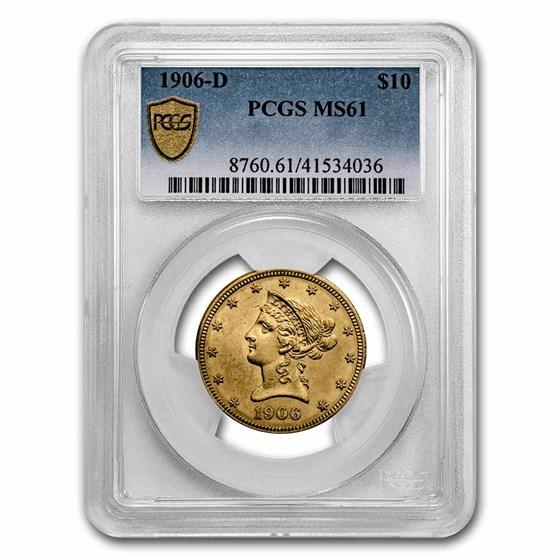 1906-D $10 Liberty Gold Eagle MS-61 PCGS