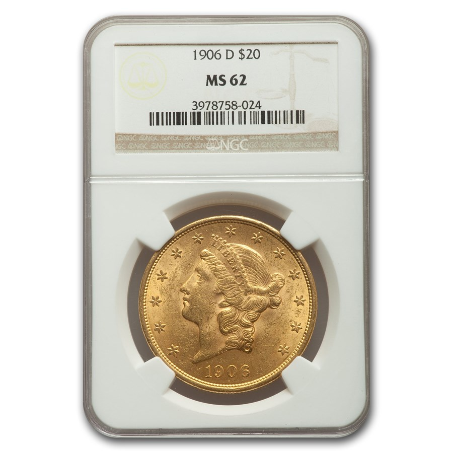 1906-D $20 Liberty Gold Double Eagle MS-62 NGC
