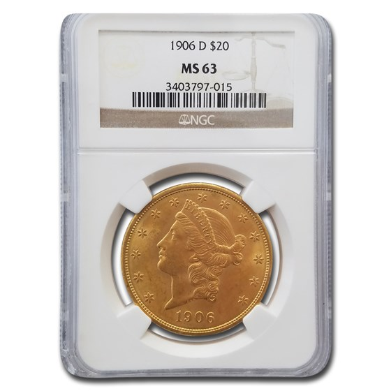 1906-D $20 Liberty Gold Double Eagle MS-63 NGC