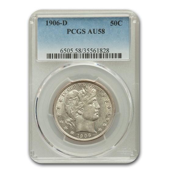 1906-D Barber Half Dollar AU-58 PCGS