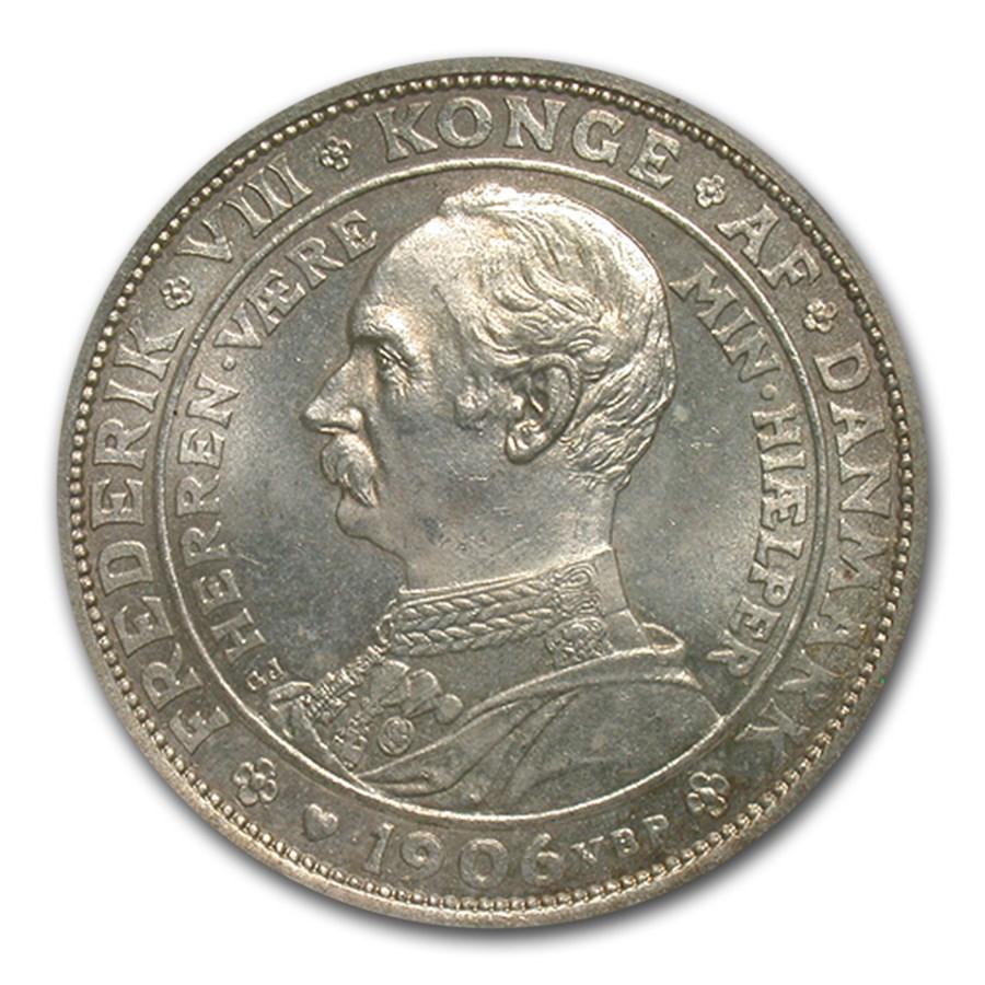 1906 Denmark Ag 2 Kroner Accession of Frederick VIII MS-65 NGC