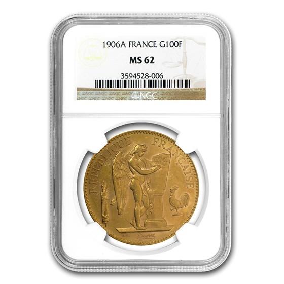 1906 France Gold 100 Francs Angel MS-62 NGC