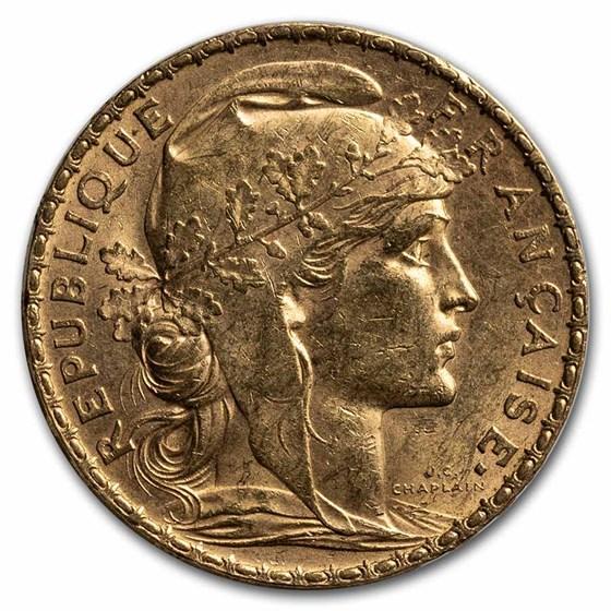1906 France Gold 20 Francs Rooster AU