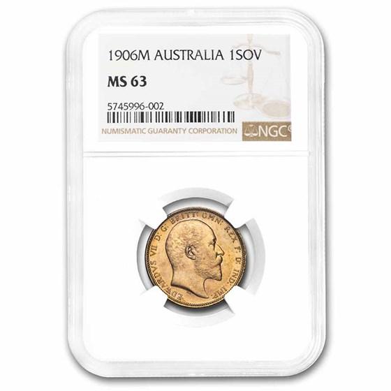 1906-M Australia Gold Sovereign Edward VII MS-63 NGC