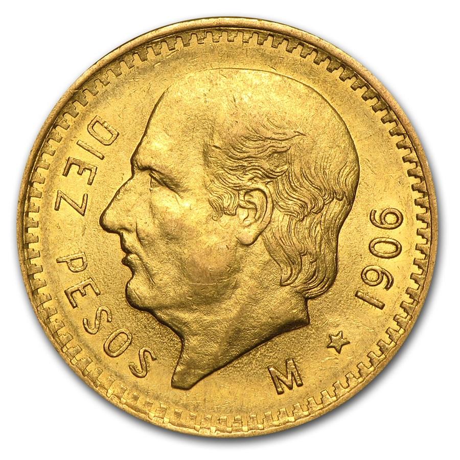 1906 Mexico Gold 10 Pesos AU