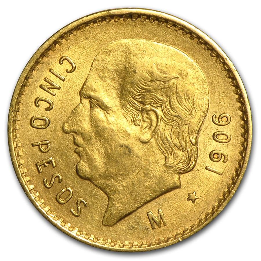 1906 Mexico Gold 5 Pesos AU
