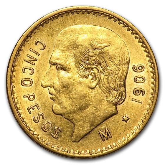 1906 Mexico Gold 5 Pesos BU