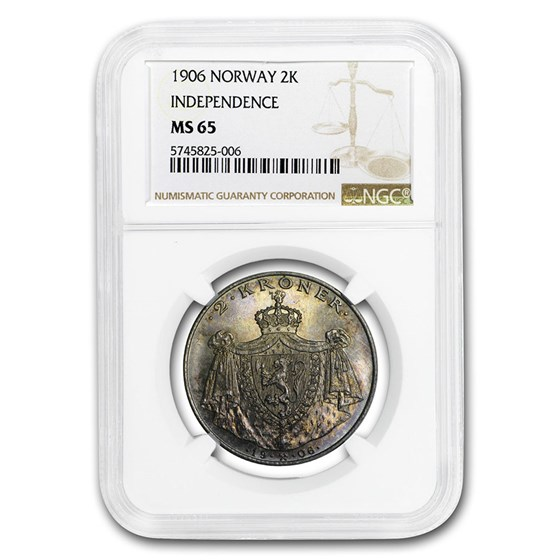 1906 Norway Silver 2 Kroner Norway Independence MS-65 NGC