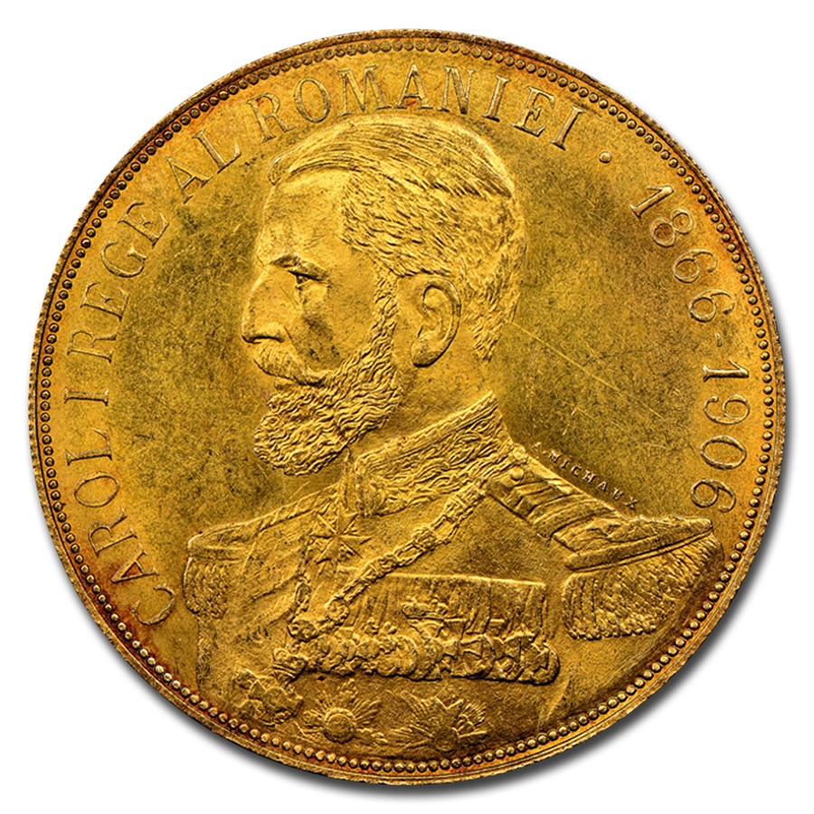 1906 Romania Gold 50 Lei Carol I MS-62 NGC