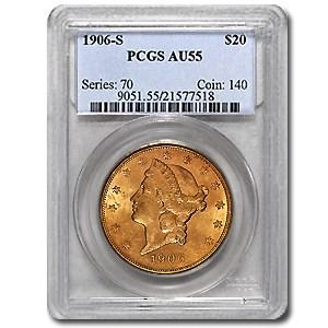 1906-S $20 Liberty Gold Double Eagle AU-55 PCGS