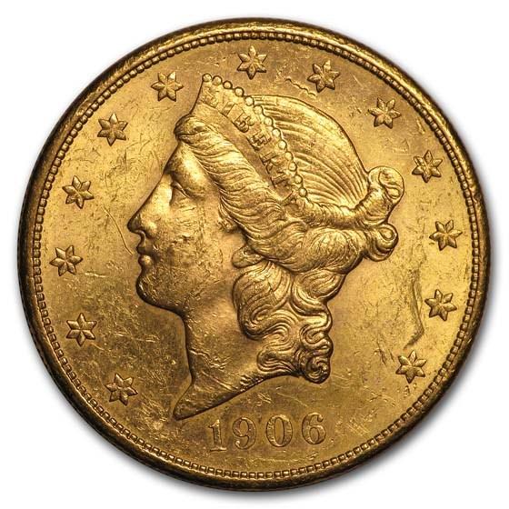 1906-S $20 Liberty Gold Double Eagle AU