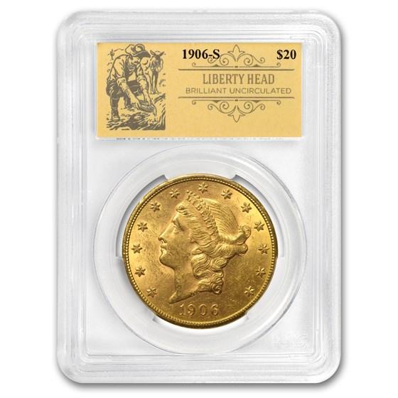 1906-S $20 Liberty Gold Double Eagle BU PCGS (Prospector Label)