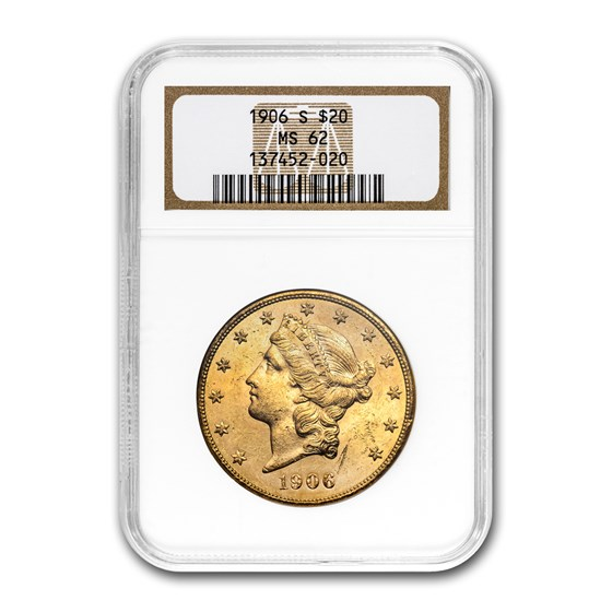 1906-S $20 Liberty Gold Double Eagle MS-62 NGC