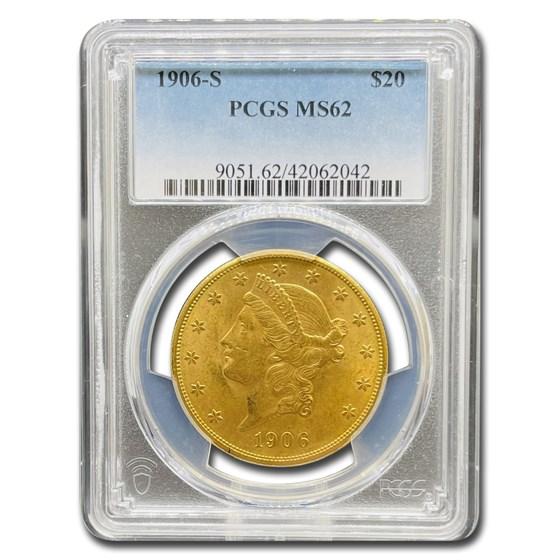 1906-S $20 Liberty Gold Double Eagle MS-62 PCGS