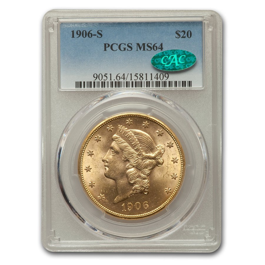1906-S $20 Liberty Gold Double Eagle MS-64 PCGS CAC