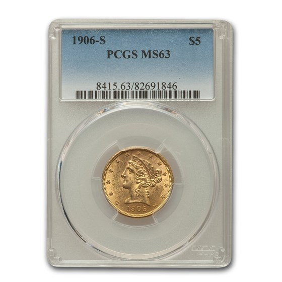 1906-S $5 Liberty Gold Half Eagle MS-63 PCGS