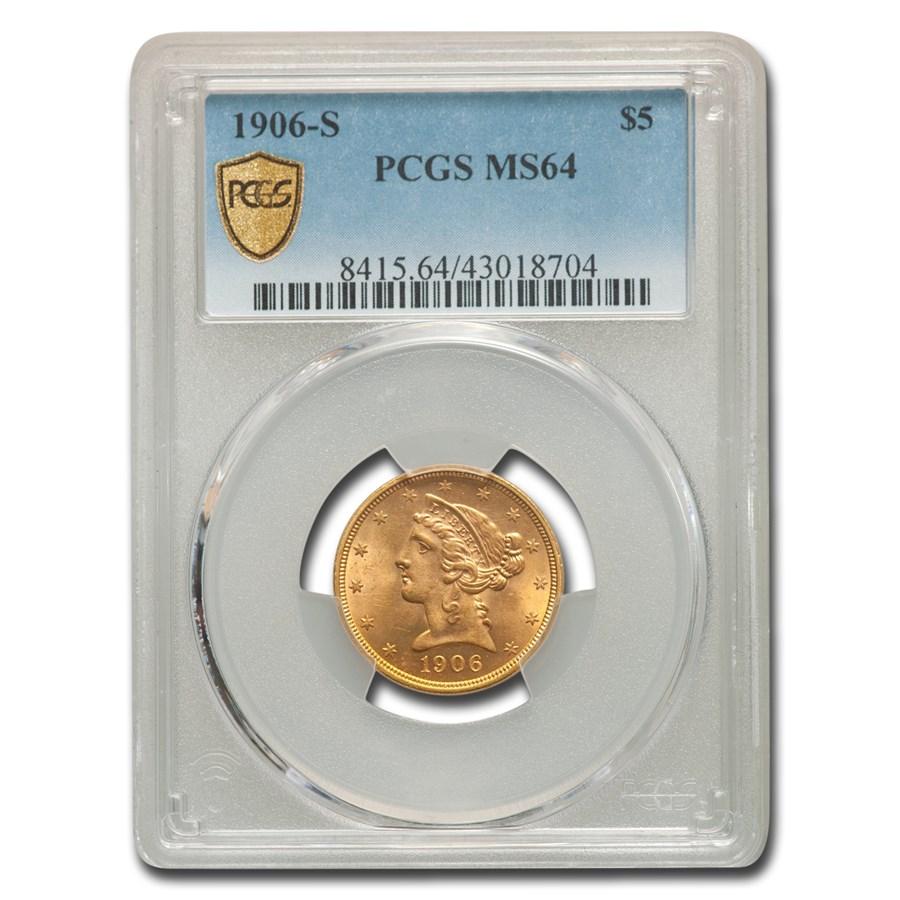1906-S $5 Liberty Gold Half Eagle MS-64 PCGS