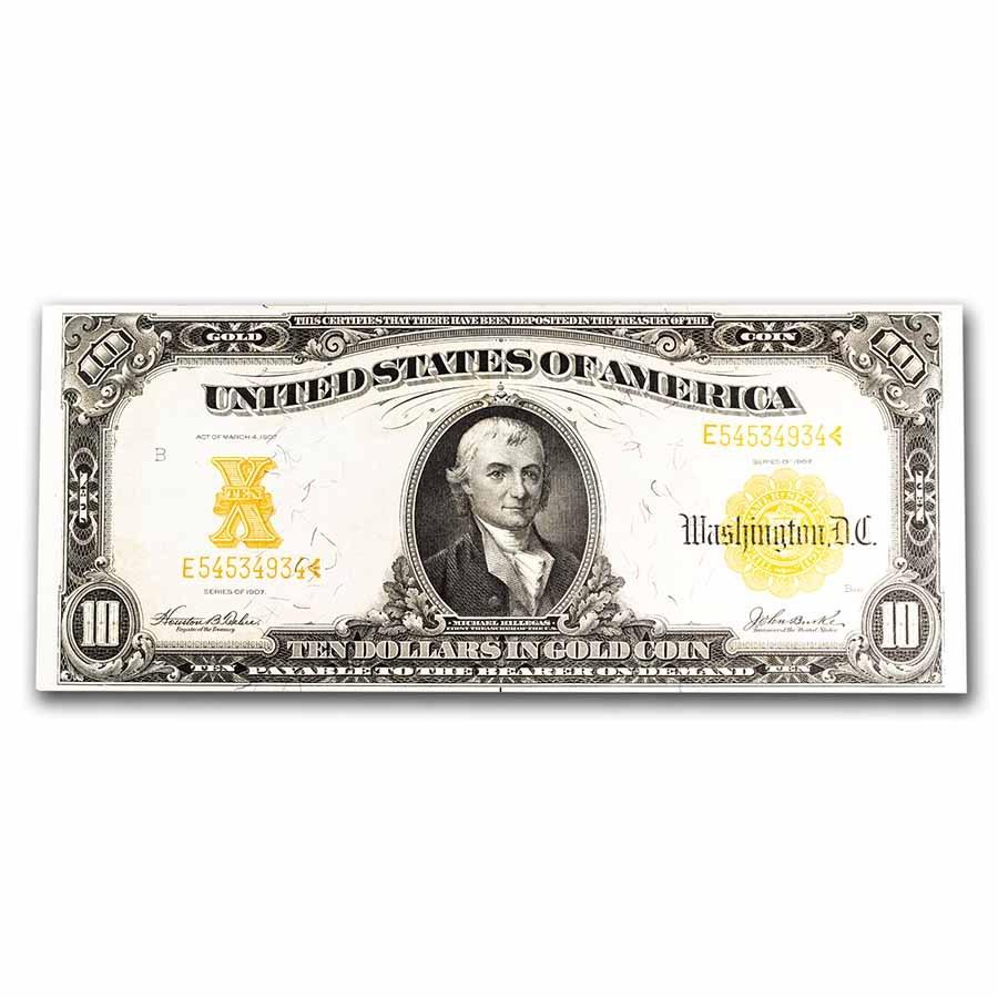 1907 $10 Gold Certificate AU (Fr#1171)