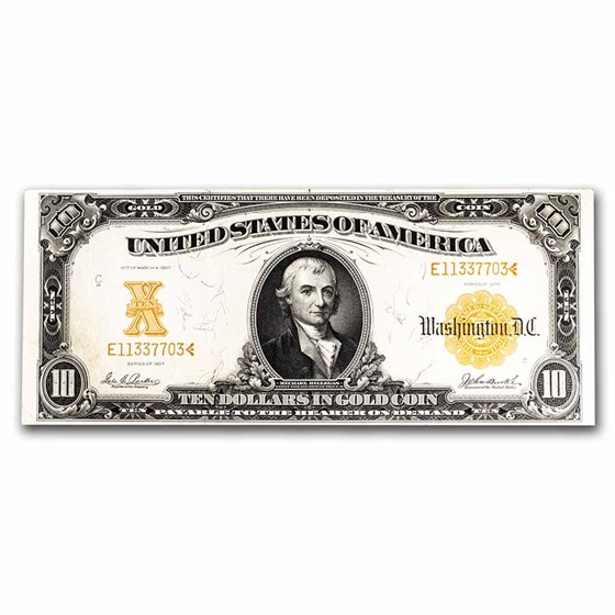 1907 $10 Gold Certificate Choice XF (Fr#1171)