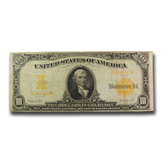 1907 $10 Gold Certificate Hillegas Fine (Fr#1172)