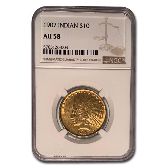 1907 $10 Indian Gold Eagle AU-58 NGC