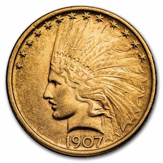 1907 $10 Indian Gold Eagle AU-58