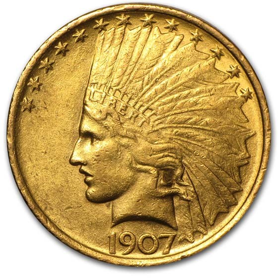 1907 $10 Indian Gold Eagle AU
