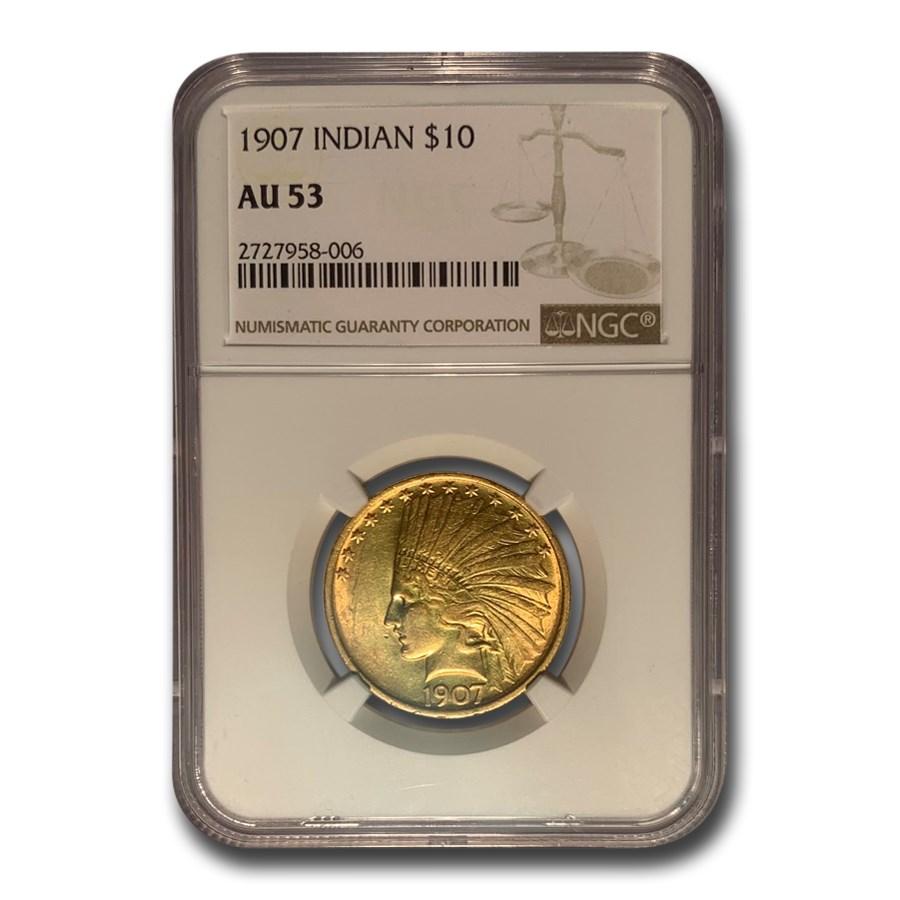 1907 $10 Indian Gold Eagle No Motto AU-53 NGC