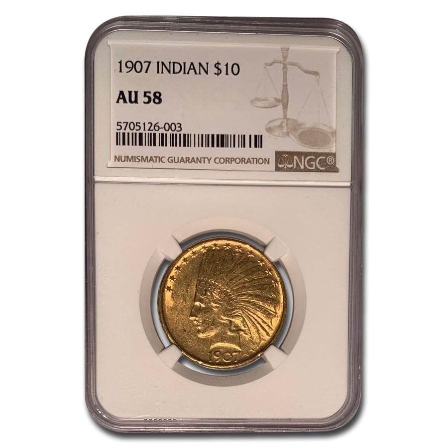 1907 $10 Indian Gold Eagle No Motto AU-58 NGC