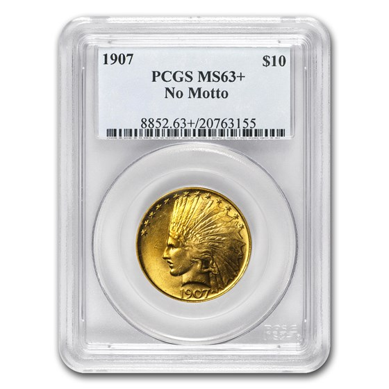 1907 $10 Indian Gold Eagle No Motto MS-63+ PCGS