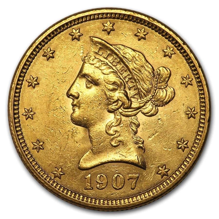 1907 $10 Liberty Gold Eagle AU