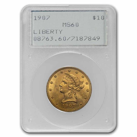 1907 $10 Liberty Gold Eagle MS-60 PCGS (Rattler)