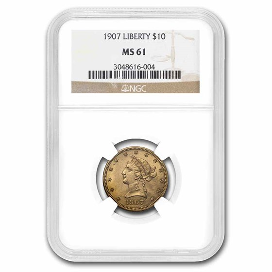1907 $10 Liberty Gold Eagle MS-61 NGC