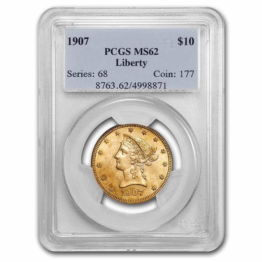 1907 $10 Liberty Gold Eagle MS-62 PCGS