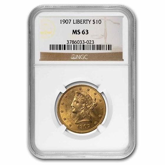 1907 $10 Liberty Gold Eagle MS-63 NGC
