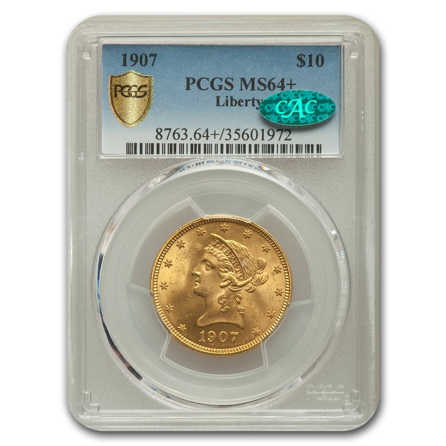 1907 $10 Liberty Gold Eagle MS-64+ PCGS CAC