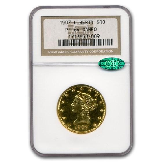 1907 $10 Liberty Gold Eagle PF-64 Cameo NGC CAC