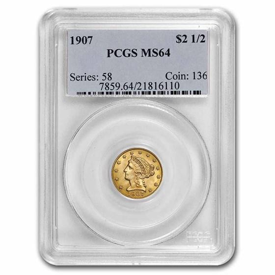 1907 $2.50 Liberty Gold Quarter Eagle MS-64 PCGS