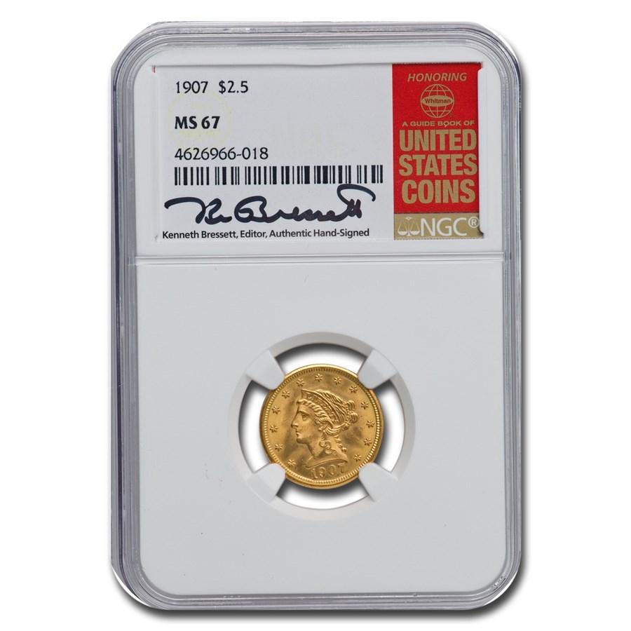 1907 $2.50 Liberty Gold Quarter Eagle MS-67 NGC