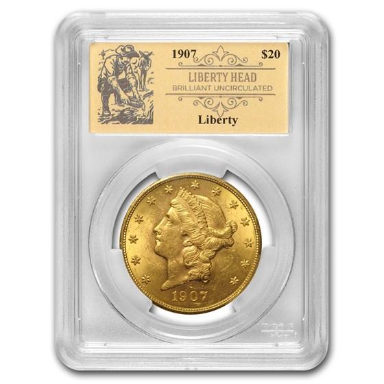 1907 $20 Liberty Gold Double Eagle BU PCGS (Prospector Label)