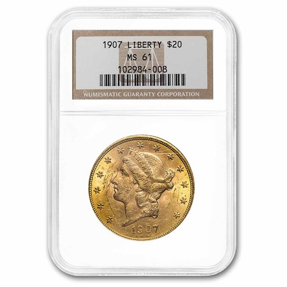 1907 $20 Liberty Gold Double Eagle MS-61 NGC