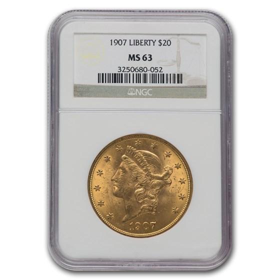 1907 $20 Liberty Gold Double Eagle MS-63 NGC