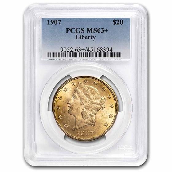 1907 $20 Liberty Gold Double Eagle MS-63+ PCGS