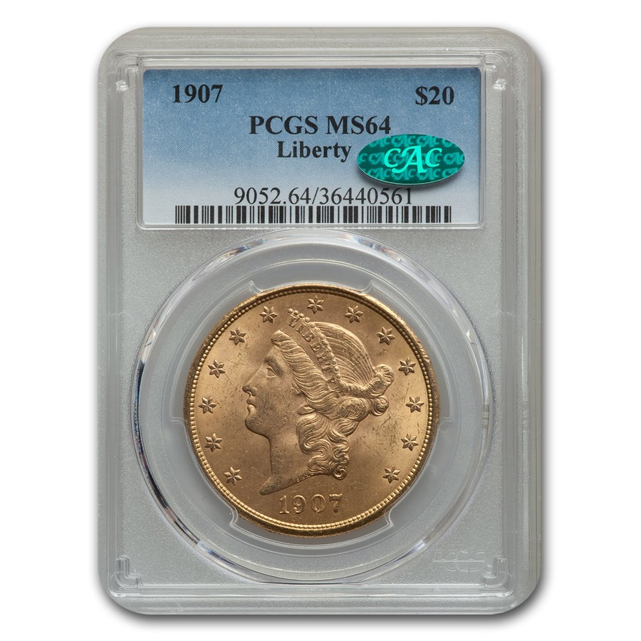 1907 $20 Liberty Gold Double Eagle MS-64 PCGS CAC
